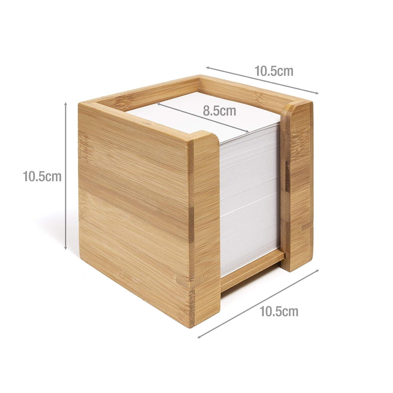 con Blocco per Appunti Quadrato Porta Appunti a Forma di cubo in bamb/ù 10,5 x 10,5 x 10,5 cm woodluv Carta Inclusa