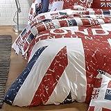 Housse de couette 200x200 cm 100% coton - LONDON Union Jack ...