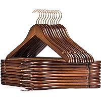HOUSE DAY Pak van 32 houten hangers, roségouden haak, robuuste haak voor kleding Topkwaliteit gladde afwerking, houten…