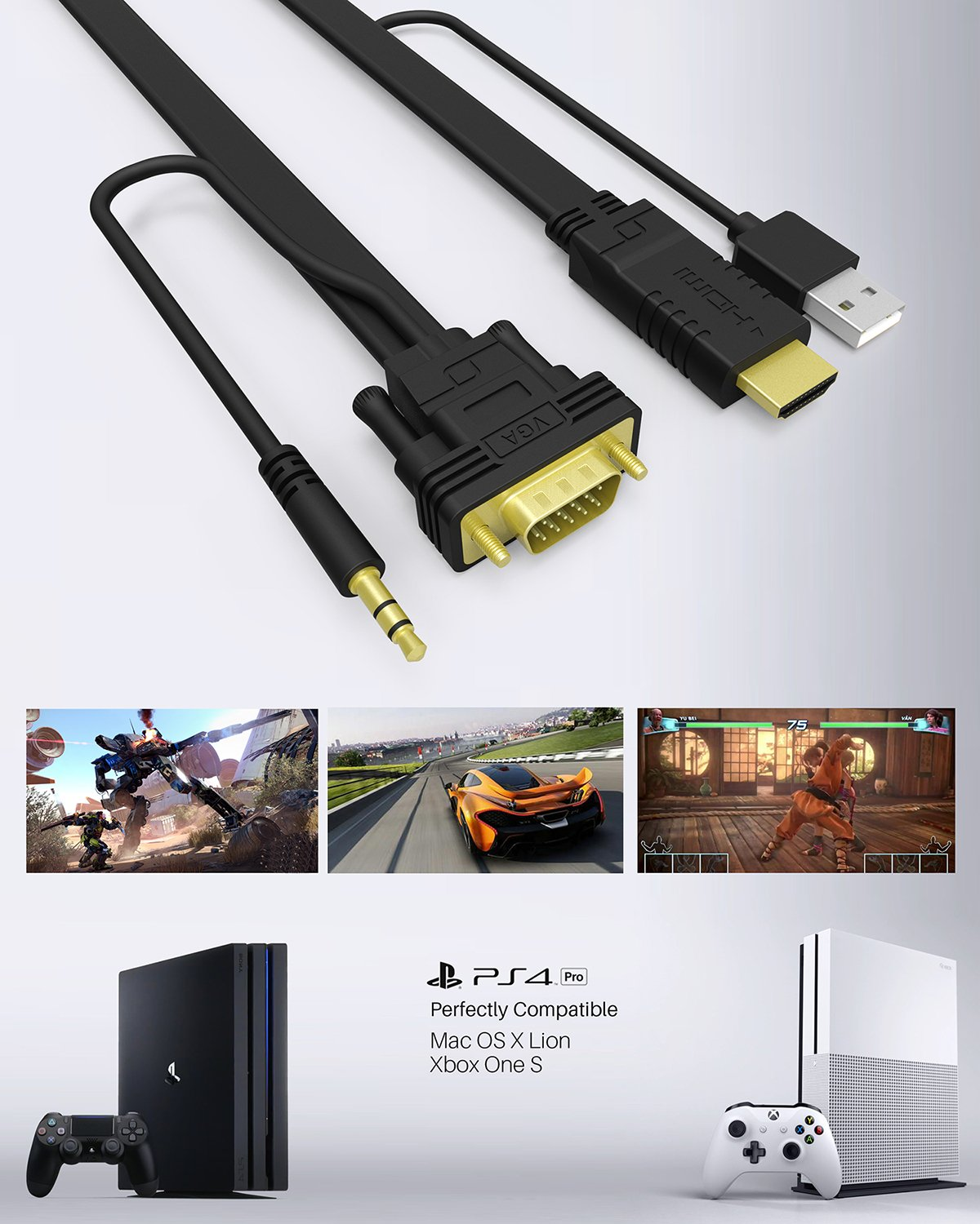 NewBEP HDMI to VGA Cable Adapter with Audio Cord and USB, 1080P HD 6ft/1.8m HDMI Male to VGA Male Converter Cord Support Apple Mackbook Sony PS2 PS3 PS4 Xbox Notebook PC DVD Player Laptop TV by NewBEP (Image #6)