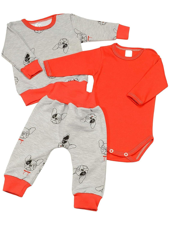 Baby Jungen Kleidungsset Geschenkset 3 tlg Langarm Body Hose Pullover 22833