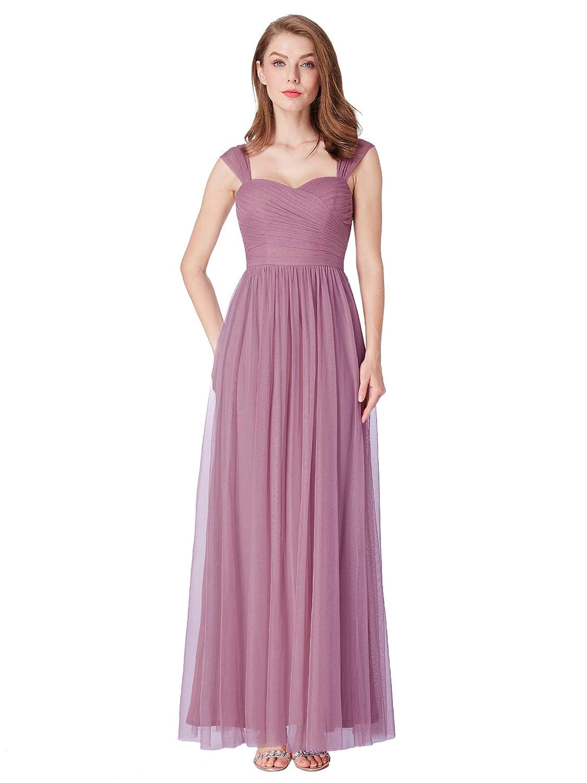 Ever-Pretty Vestito da Damigella Sera Lungo Donna Scollo a V Tulle Plisado 07304