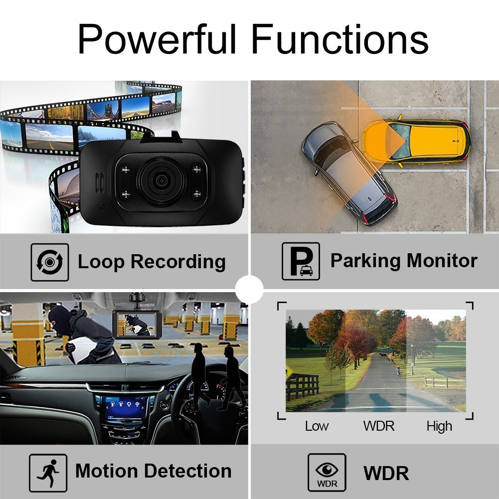 Senwow Car Dash Cam with 8GB Card, 1080P Full HD Dashboard Camera Recorder 2.7\