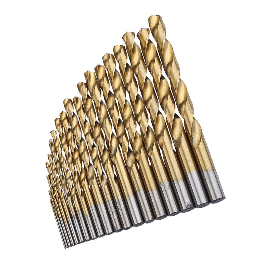 Homyl 19 Pieces Twist Bits HSS For Straight Shank For Wood, Aluminum, Plastic