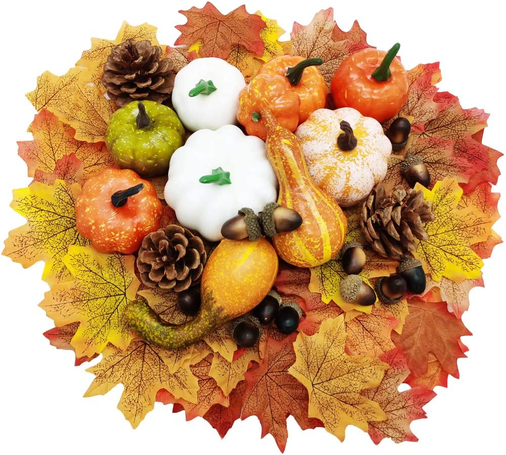 75 Pieces Artificial Mini Fake Pumpkins Fake Pumpkin Decor and Gourds,Maple Leaves,Pine Cones,Acorns for Halloween Thanksgiving Day House Party Decor