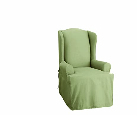 Sure Fit Cotton Duck Wing Chair Slipcover, Sage