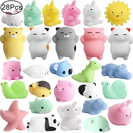 Mochi Animals Squeeze Toy, Outee 28 Piezas Mini Squishies Mochi Animal Cat Squishy Mochi Squishy