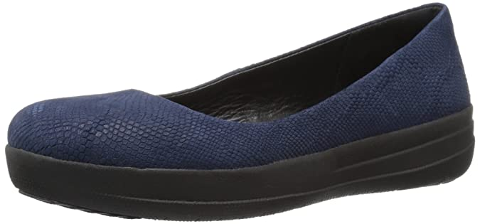 F-Sporty Laceup Sneaker, Zapatillas Mujer, Azul (Midnight Navy Snake-Embossed), 39 FitFlop
