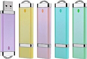Aiibe 2GB 2G USB Flash Drive 5 Pack USB 2.0 Memory Stick Thumb Drives 2GB (5 Mixed Colors: Blue Green Yellow Pink Purple)