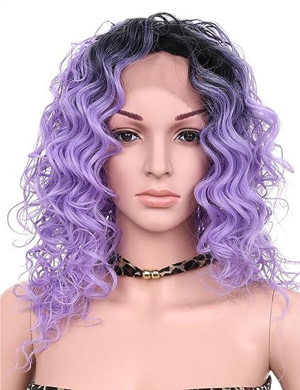 Golden Rule Pelucas rizadas largas púrpuras naturales para la manera barata de las mujeres pelucas de