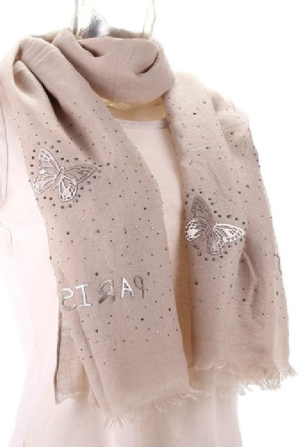 9adc2de82f0e Echarpe foulard champagne papillons simili cuir et strass  Amazon.fr   Vêtements et accessoires