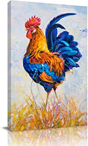 Abstract Canvas Wall Art Oil Painting for Bedroom Living Room Kitchen Bathroom Wall Decor,Hand Painting Rooster Chicken Pattern Framed Office Artworks,Stretched by Wooden Frame,Ready to Hang,20x28in