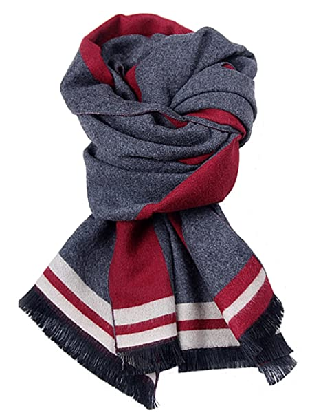 fe5954845 W.Best Men's Cashmere Scarf Classic Houndstooth Plaid Leisure Business  Neckerchief (Red2)