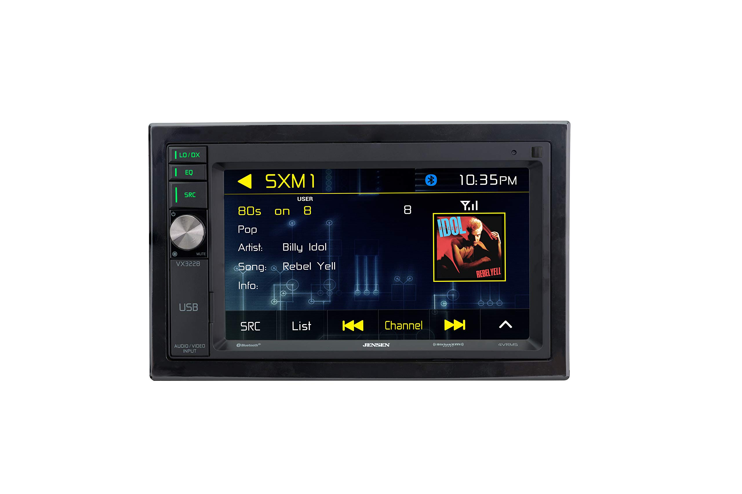 Jensen VX3228 6.2'' Digital Multimedia LED Backlit LCD Touch Screen Double DIN Car Stereo with Built-In Bluetooth, SiriusXM-Ready & USB Port by Jensen