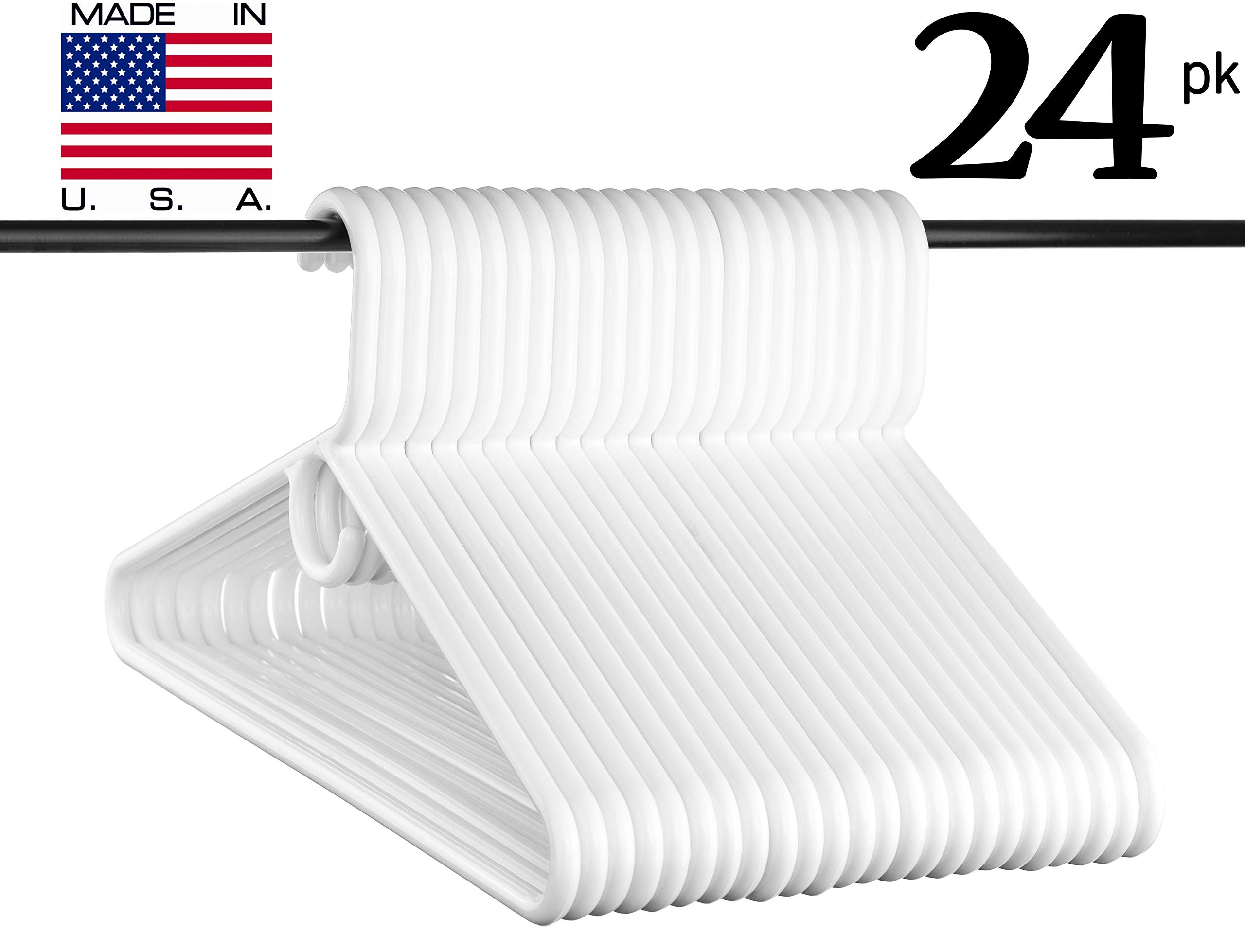 Neaties USA Made Super Heavy Duty White Plastic Hangers, 24pk