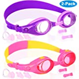 Kids Swim Goggles, Pack of 2, Swimming Glasses for Children and Early Teens from 3 to 15 Years Old, Clear Vision, Anti…