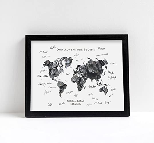 Amazon world map our adventure begins wedding guestbook or world map our adventure begins wedding guestbook or art print natural series wood burlap gumiabroncs Images