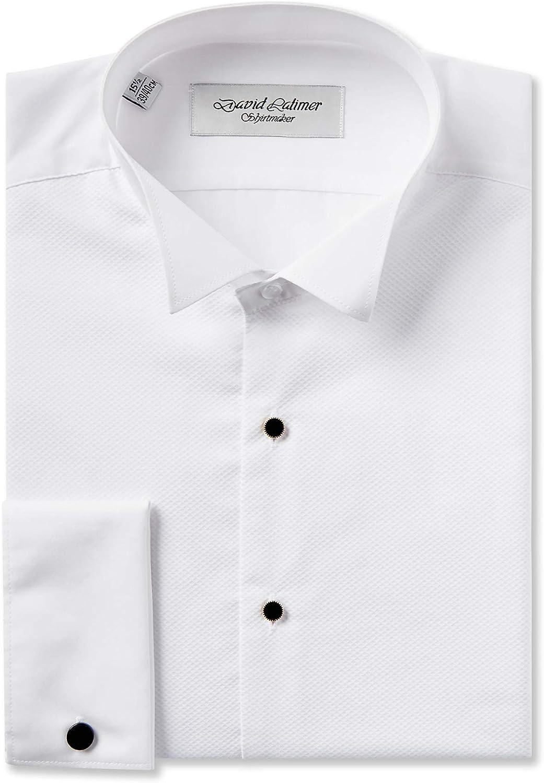 Dobell Mens White Marcella Evening Dress Shirt Reg Fit Wing Collar Stud Button