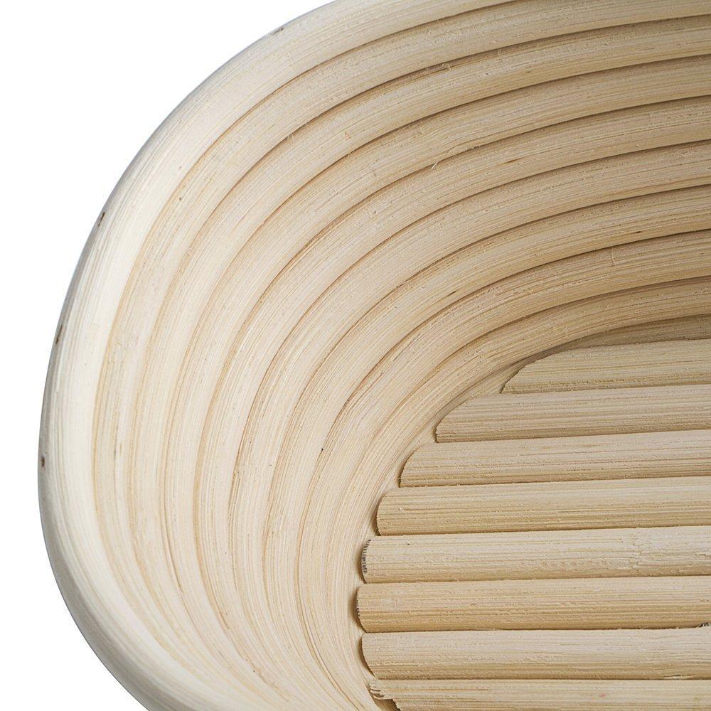10 Inch Oval Oblong Slim Brotform Banneton Proofing Basket Bread Bowl for Baking Dough with Rising Pattern Bonus Linen Cover