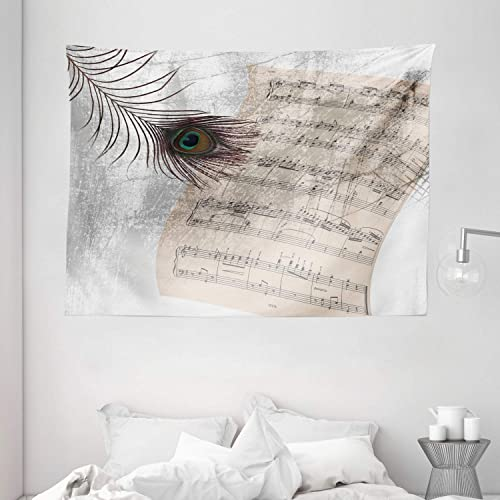 Ambesonne Peacock Tapestry, Music Notes Sheet Texture with Peacock Feather Evil Eye on Antique Style Musical Theme, Wide Wall Hanging for Bedroom Living Room Dorm, 80 X 60 , Beige