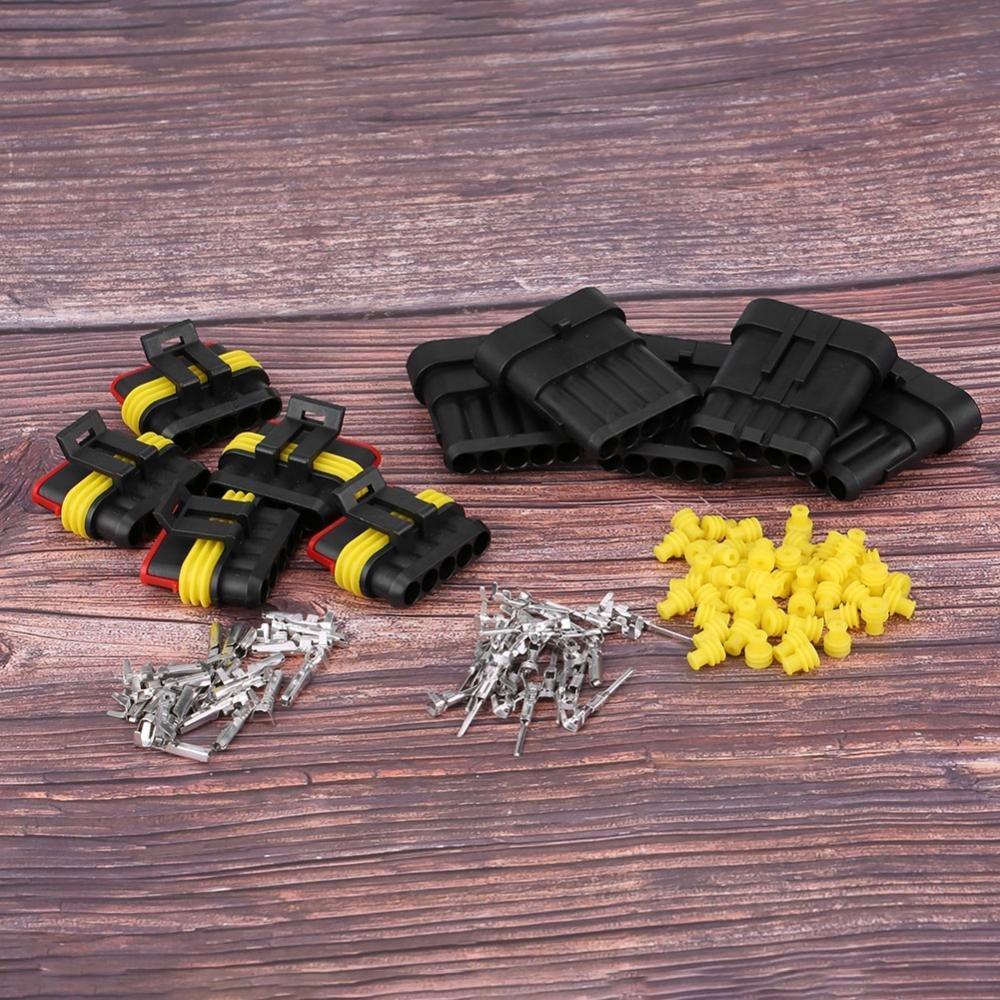 KIMISS KI06476 5 pezzi auto 5 pin way sigillato auto impermeabile connettore presa elettrica spina kit