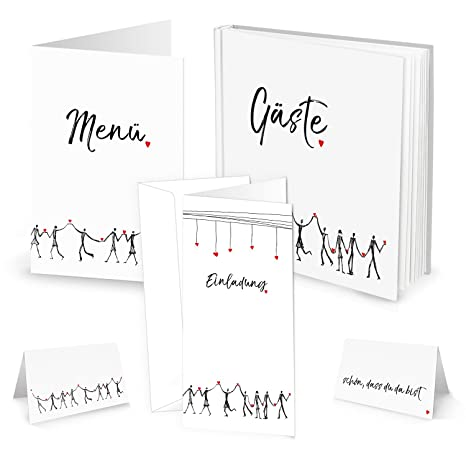 Mesa – Juego de decoración corazón humanos: 10 tarjetas de menú, 25 tarjetas de