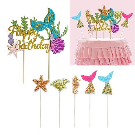 CUSFULL 6Pcs Sirena Decoraciones de Pastel,DIY Feliz Cumpleaños,Accesorio de la Tarta para