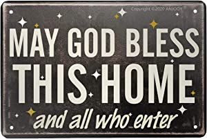 """Tin Sign - May God Bless This Home - Vintage Style Cafe Home Iron Mesh Fence Farm Supermarket Bar Pub Garage Hotel Diner Mall Forest Garden Door Wall Decor Art - 8""""x12"""" (Bless All WHO Enter)"""