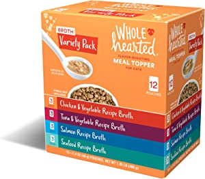 Petco Brand - WholeHearted Flavor-Boosting Wet Cat Meal Topper Broths Variety Pack, 1.4 oz., Count of 12