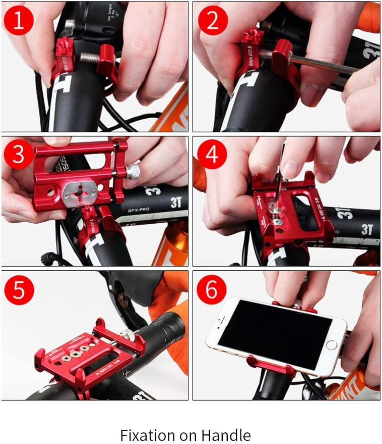 Gold Mobile Support for Mountain Bike Bicycle Handlebar /& Stem Cellphone Holder Aluminium Alloy Adjustable Mobile Phone Mount for Highway Vehicles XOSS Bike Cellphone Holder