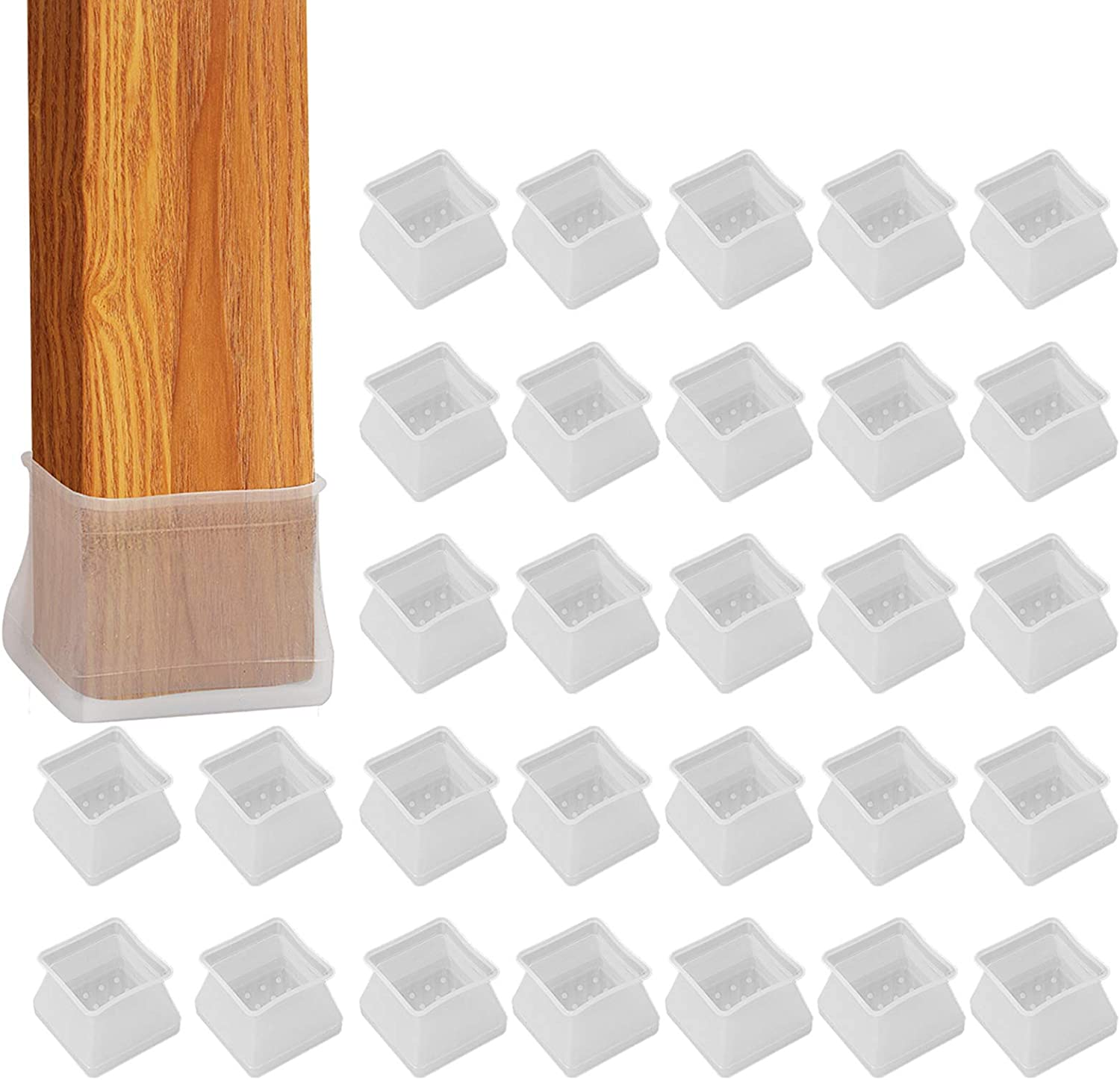 32Pcs Furniture Silicone Protection Cover - Square Silicone Chair Leg Floor Protectors, Fit Square Length 1-3/8 inches to 1-9/16 inches, Anti-Slip Bottom Prevent Scratches and Noise