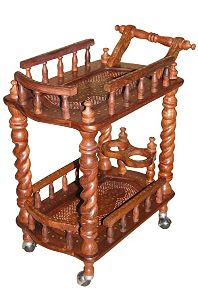 Shilpi Wooden Carved Serving Cart ( Brown, Height - 31 Inches, Width - 30 Inches, Depth - 18 Inches )
