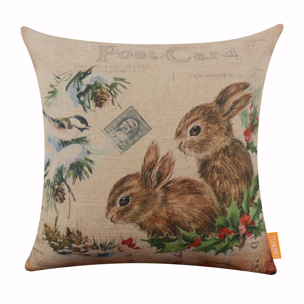 LINKWELL 18x18 inches Merry Christmas Cute Bunny Rabbit Burlap Throw Cushion Cover Pillowcase CC1199
