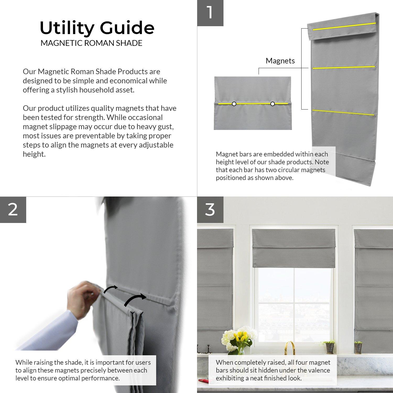 Light Filtering Privacy Allure Ultramarine 23W X 64H 23W X 64H RMAU2364 Chicology Cordless Magnetic Roman Shades // Window Blind Fabric Curtain Drape