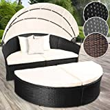 Miadomodo® Poly Rattan Garden Day Bed | Width: 180 cm, Canopy, Seat Cushions, Colour of Choice | Sun Isle Lounger, Garden Outdoor Furniture (Black)