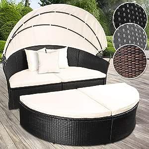MIADOMODO Conjunto de sillones de Poliratán | 180 cm, con Cojines y Techo, Color a Elegir | Cama de Jardín, Set de Ratán Exterior, Tumbona Sofá, Mueble de Ratán (Negro): Amazon.es: Jardín