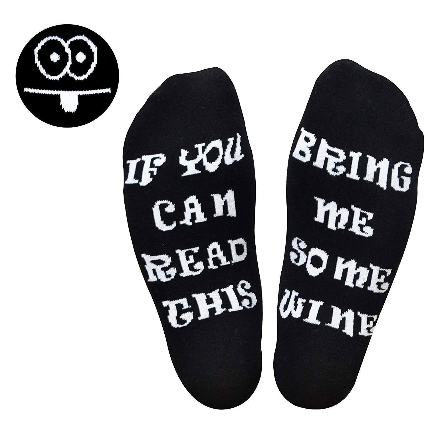 GoldWorld Novelty Cotton Wine Socks Birthday Gifts for Women/Mom/Men w/Funny Saying If You Can Read This Bring Me a Glass of Wine Sock for 30th/40th/50th/60th/70th Birthday Retirement Gifts (White)
