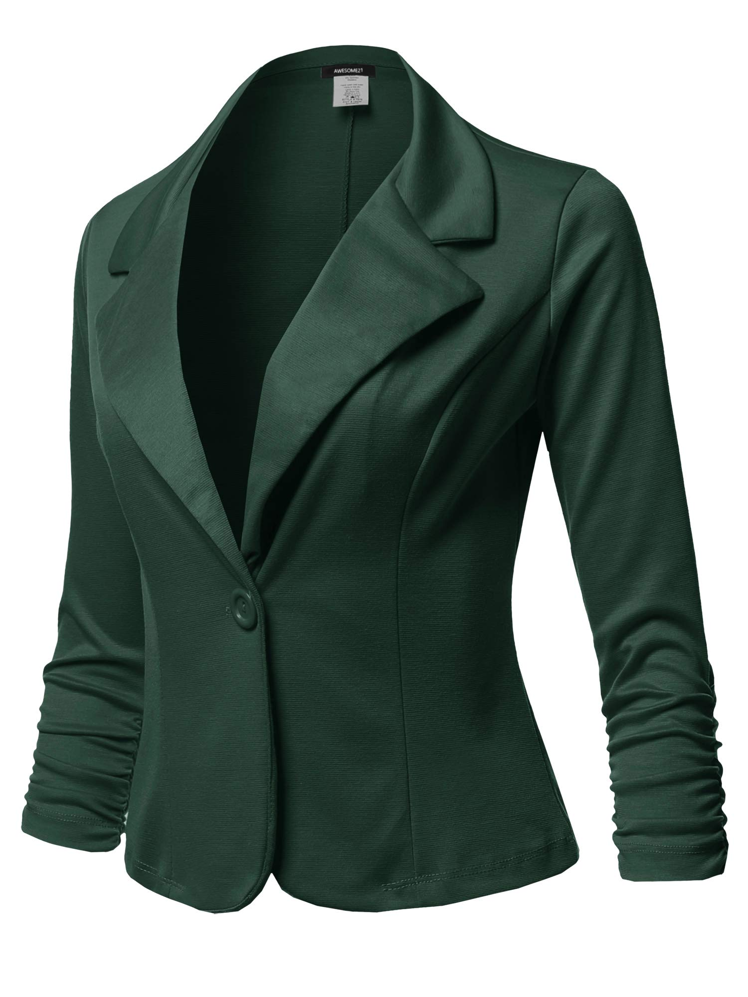 Awesome21 Solid Formal Button up Shirring Sleeves Blazer - Made in USA Hunter Green 2XL