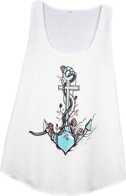 Camiseta SIN Mangas para Mujer - Ancla Marina - Estilo Tatuaje ...