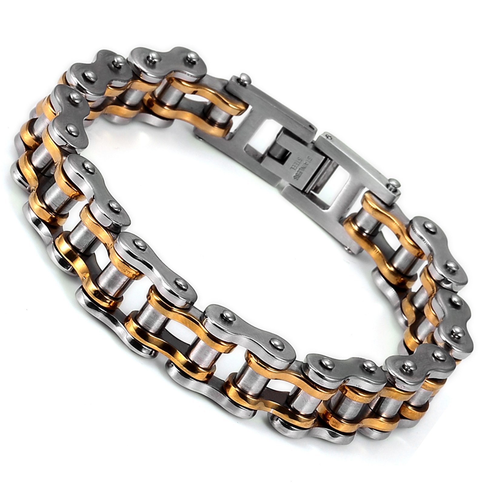 AGENT.X Men's Silver Golden Bicycle Chain Stainless Steel Bracelet AAB008, 8.3''
