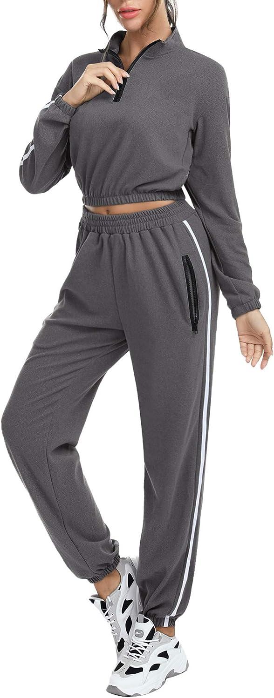 Akalnny Tuta Sportive da Donna 2 Pezzi Crop Felpa e Pantaloni a Tasca Cerniera Tute Ginnastica per Palestra Jogging Yoga Fitness S-XXL