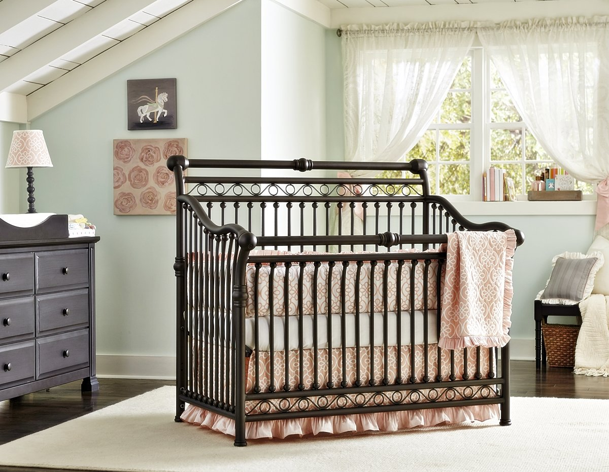 Baby cribs amazon - Amazon Com Baby S Dream Cirque Convertible Metal Crib Pewter Baby