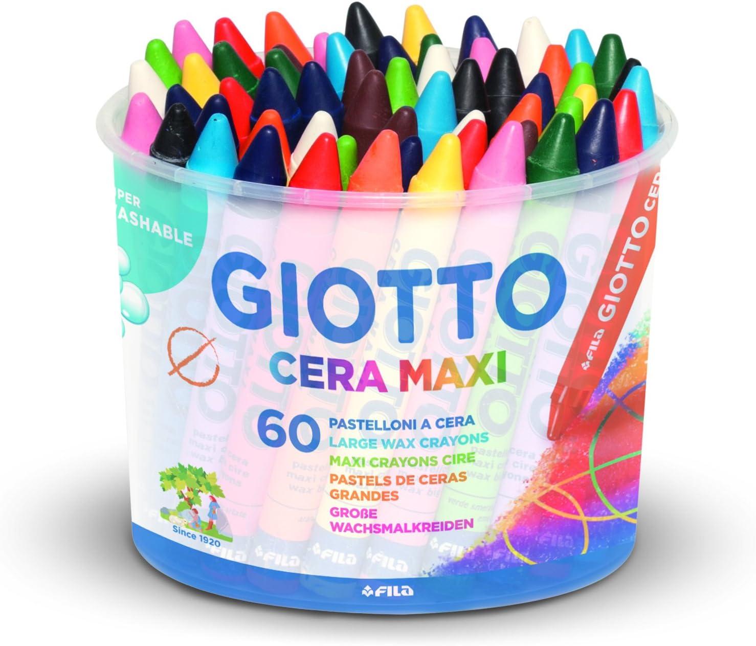 Giotto Cera Maxi - tizas, 60 piezas, colores surtidos: Amazon.es: Oficina y papelería