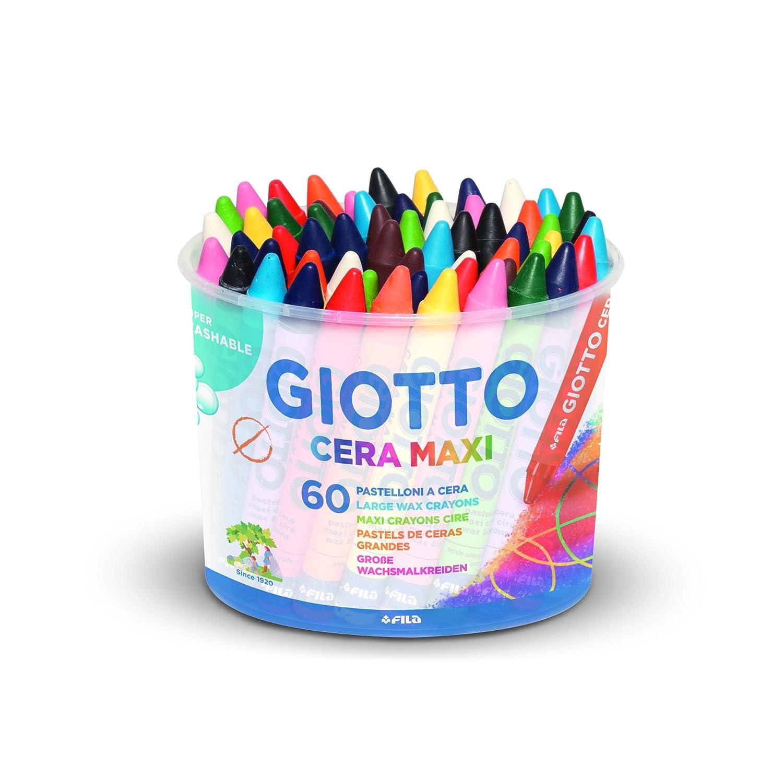 Giotto 519200 Maxi Pot de 60 craies à la cire maxi Diamètre 11, 5 mm 5192 00 Crayons De Couleur