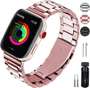 Fullmosa Black Stainless Steel Metal Bands, Metal Strap Compatible with Apple Watch 38mm 40mm 42mm 44mm for iWatch Series 6 SE Series 5 ,Series 4, Series 3, Series 2, Series 1 ,4 Colors black,silver,gold,Rose Red