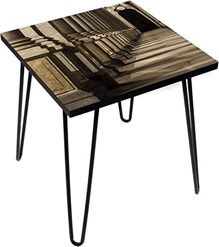 LAMOU Wood End Table Digital Print on Baltic Birch-20 x20-Steel Hairpin Legs-Classical Pattern