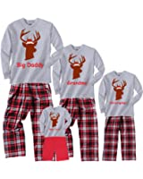 Personalized Christmas Buck Pajama Set With Santa Hat - Matching Playwear For Boys, Girls, Baby
