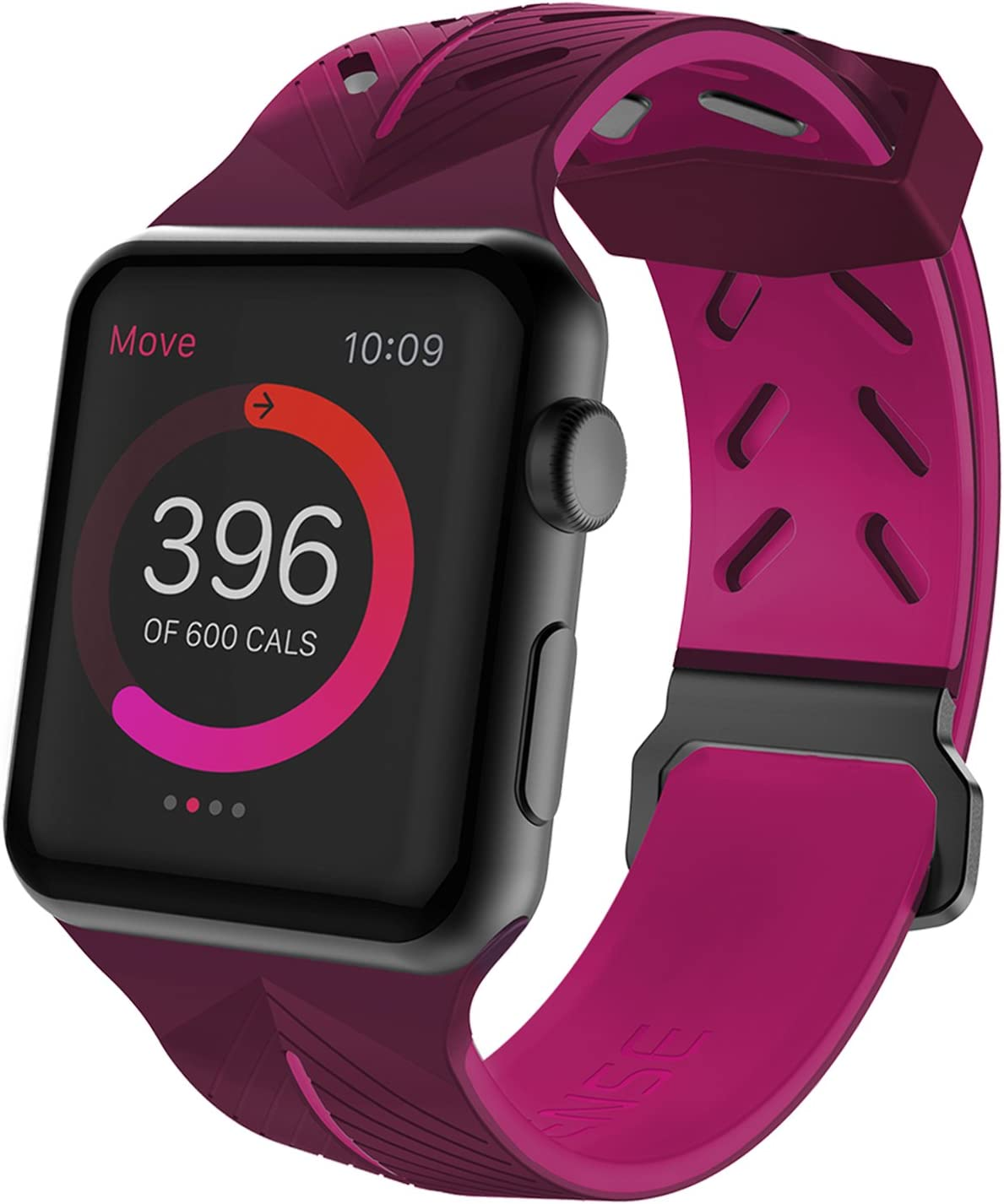 X-Doria Action Band, Compatible for 38mm Apple Watch Replacement Band - Soft Silicone, Active Watch Band - Compatible with Apple Watch Series 1, Series 2, Series 3 and Nike+, [Purple/Pink]