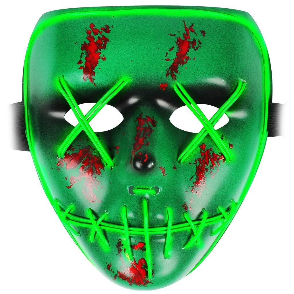 Epex Halloween Scary Purge Mask Cosplay Led Light up Costume for Fancy Dress Party