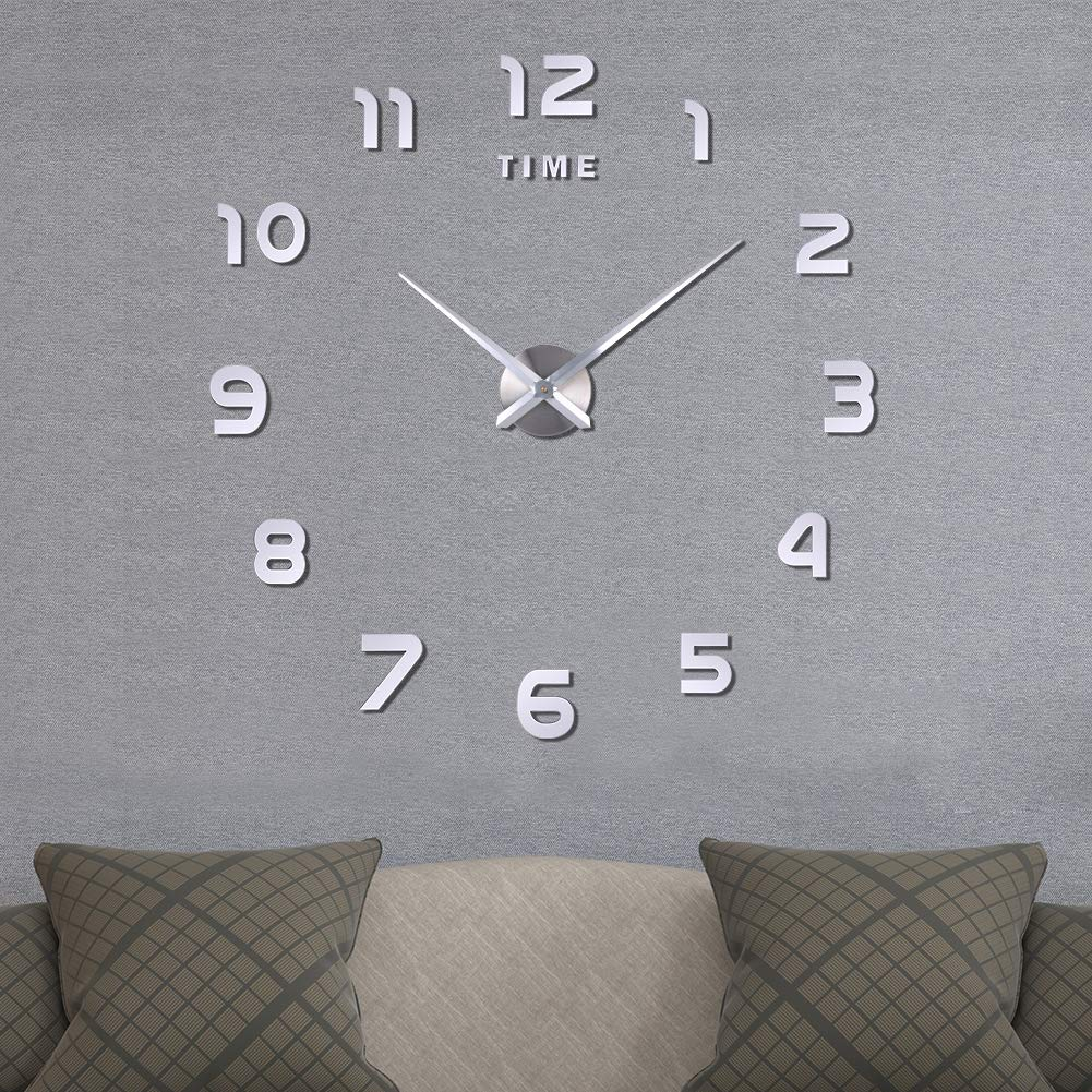 Frameless Large 3D DIY Wall Clock,3D Mirror Wall Clock Large Mute Wall Stickers  for Living Room Bedroom Home Decorations(Silve)